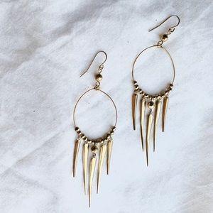 Gold Tone Boho Dangle Earrings Artisan